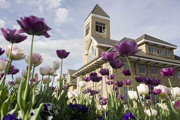 Hinckley Center with tulips