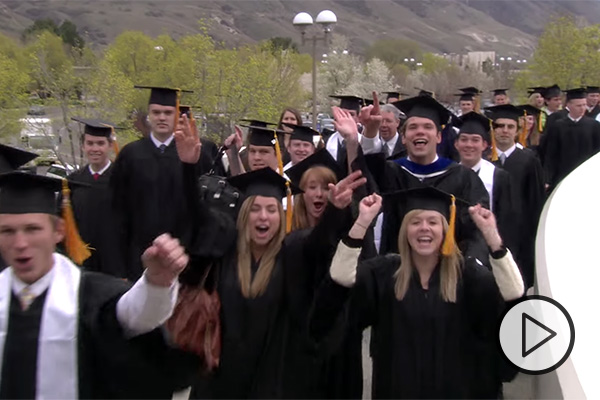 BYU grads in caps and gowns