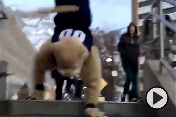 QB Zach Wilson in street clothes at the football stadium. Text says Deep Blue.
