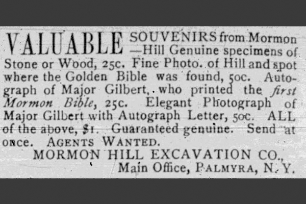 An ad from the Women's Exponent offers valuable souvenirs from Mormon Hill including genuine stone or wood specimens, photos, and autographs.