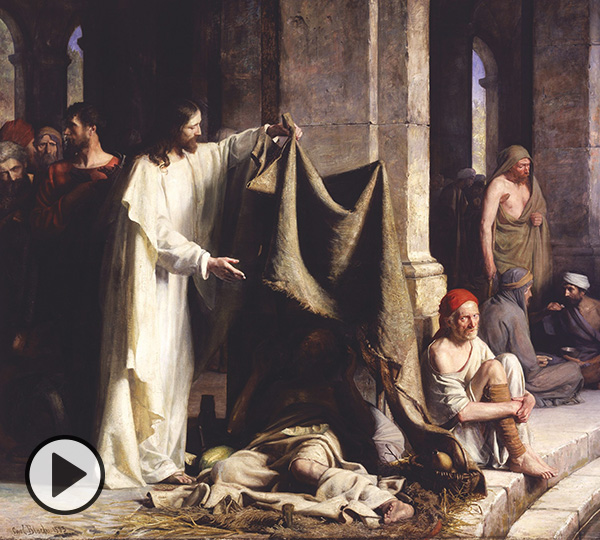 Carl Heinrich Bloch (1834-1890), Christ Healing the Sick at Bethesda, 1883, oil on canvas, 100 3/4 x 125 1/2 inches. Brigham Young University Museum of Art, purchased with funds provided by Jack R. and Mary Lois Wheatley, 2001.