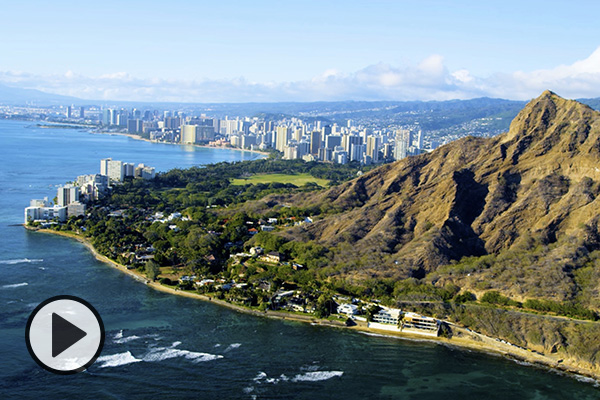An aerial view of Diamond Head and the city skyline of Honolulu.