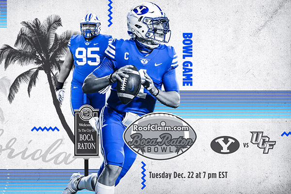 This photo illustration shows BYU QB Zach Wilson and a defensive player near a palm tree and graphic lines. Text reads RoofClaim dot com. Boca Raton Bowl, BYU versus UCF. Tuesday Dec. 22 at 7 pm EST.
