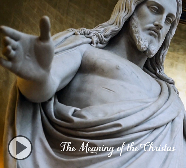 A close view of Bertel Thorvaldsen's beloved sculpture with the words The Meaning of the Christus below.