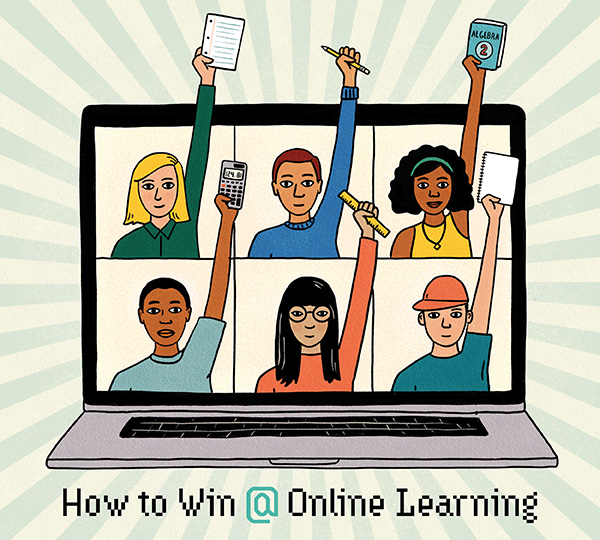 A comic-style illustration of six students all raising their hands in a Zoom class. The text says How to win at online learning.