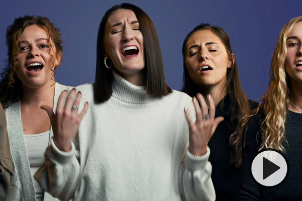 Four members of BYU Noteworthy in a composite image, each singing with emotion.