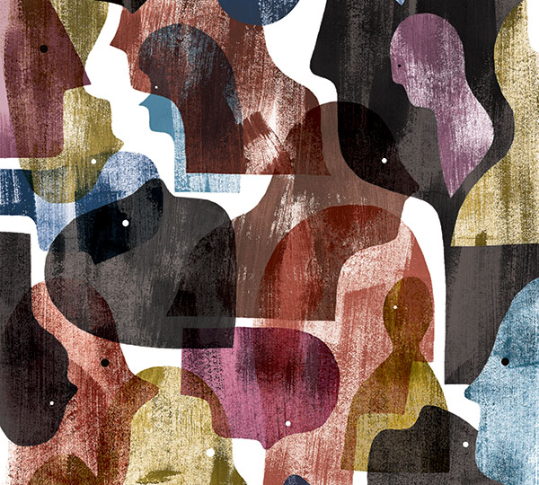 An abstract illustration depicting a diverse group of human beings, all colors and shapes.