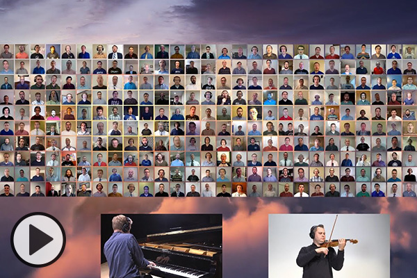 A virtual choir with dozens of singers, a pianist, and a violinist.