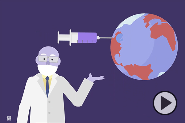 An animation showing a researcher and the planet Earth with a vaccine-filled syringe being injected into it.