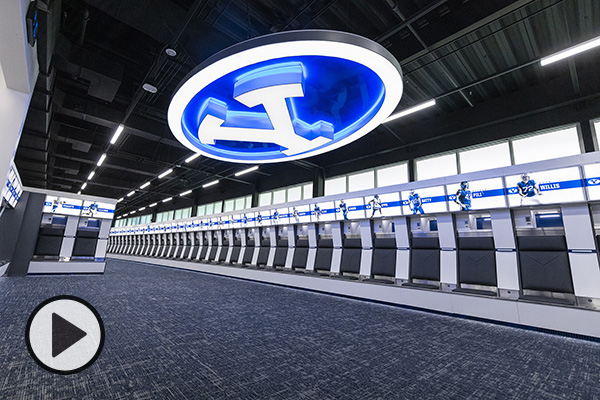 The just-completed football locker room renovations in the Student Athlete Building.