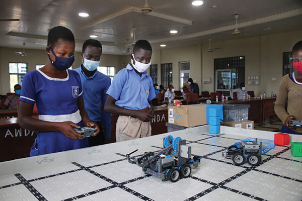 Rural kids turn theory into practice by programming robots to perform simple tasks. Bountiful STEM's program has attracted attention across Ghana. Photo courtesy of Seth Ayim.