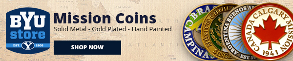 BYU Store Mission Coins. Solid Metal. Gold Plated. Hand Painted. Shop Now.