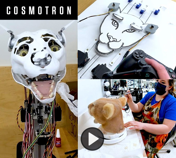 A combination of three images showing the face of an animatronic cougar, a controller schematic and anohter cougar head with theatrical fur being applied.