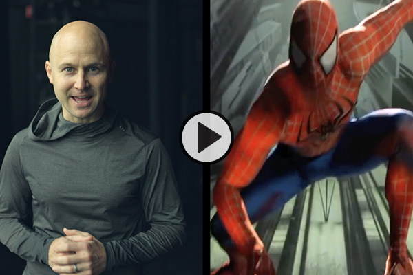 Professor Adam Dyer shown speaking in a split image that also shows him dressed as Spider-Man in a Broadway production.