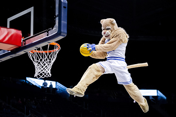 BYU mascot Cosmo the Cougar soars above a basketball rim just before dunking.