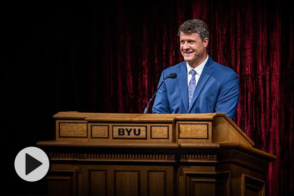 Steven Harper, professor of Church history and doctrine, speaks at a BYU devotional.