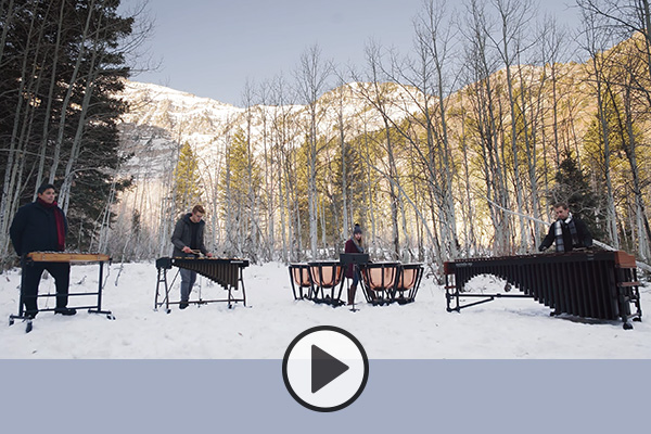 BYU's Tangents Percussion Quartet perform Montañesa in a snowy alpine meadow.