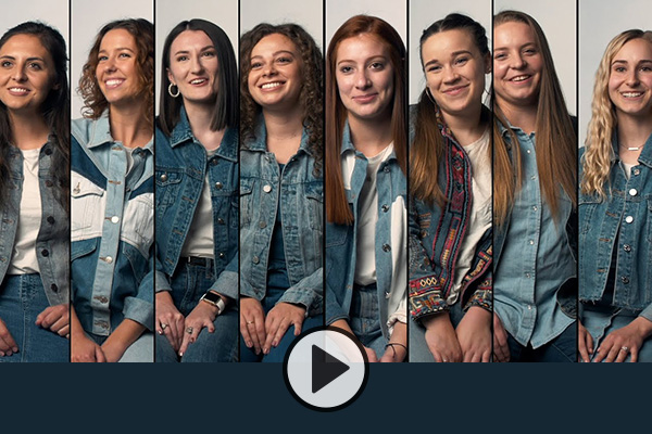 Eight members of BYU Noteworthy in a composite image, each in a thin rectangular slice.