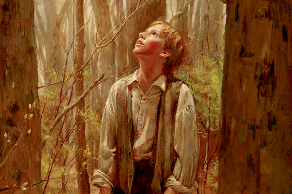 The Prophet Joseph Smith looks to heaven in the Sacred Grove.