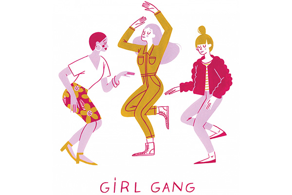 Three illustrated women dance together over the words Girl Gang.