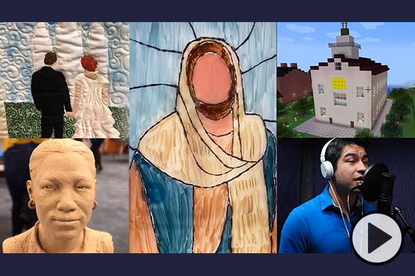 Various projects, including a quilt, a sculpture, a video game, stained glass, and a song recording, all created by BYU students.
