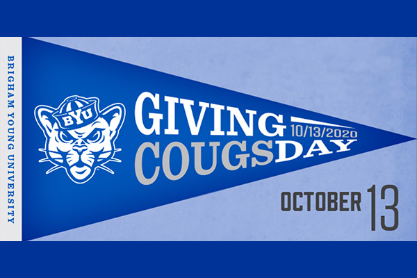 A blue banner with the sailor cougar and the words Giving Cougsday October 13.