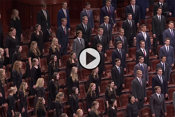 A combined choir of BYU students perform in the conference center during the Saturday evening session of October 2021 General Conference.