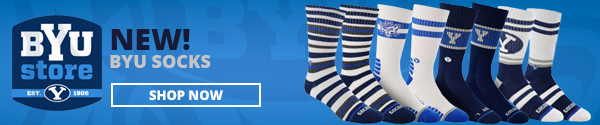 BYU Store New BYU socks. Shop Now. Four cool styles of socks with stripes and Y logos are shown.